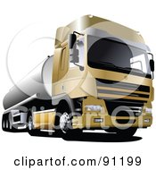 Royalty Free RF Clipart Illustration Of A Golden Cargo Truck