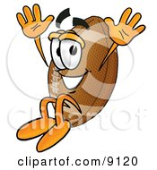 Clipart Picture Of A Football Mascot Cartoon Character Jumping by Toons4Biz