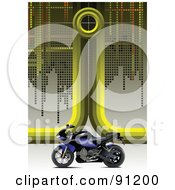 Royalty Free RF Clipart Illustration Of A Green Motorcycle Background With Pixels And A Blue Bike by leonid