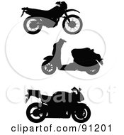 Royalty Free RF Clipart Illustration Of A Digital Collage Of Three Motorcycle Silhouettes by leonid