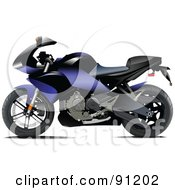 Royalty Free RF Clipart Illustration Of A Blue And Black Motorcycle
