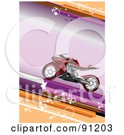 Royalty Free RF Clipart Illustration Of A Red Motorcycle Over A Purple And Orange Background