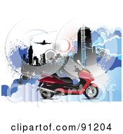 Royalty Free RF Clipart Illustration Of A Red Motorcycle Over An Urban Background by leonid