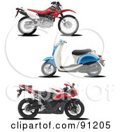 Royalty Free RF Clipart Illustration Of A Digital Collage Of Three Motorcycles by leonid