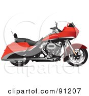 Royalty Free RF Clipart Illustration Of A Red Motorcycle 3 by leonid