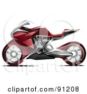 Royalty Free RF Clipart Illustration Of A Red Motorcycle 2 by leonid