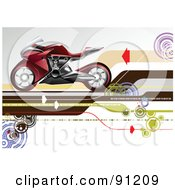Royalty Free RF Clipart Illustration Of A Red Motorcycle Over An Arrow Background by leonid