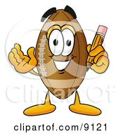 Clipart Picture Of A Football Mascot Cartoon Character Holding A Pencil