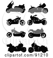 Royalty Free RF Clipart Illustration Of A Digital Collage Of Eight Motorcycle Silhouettes