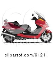 Royalty Free RF Clipart Illustration Of A Red Motorcycle 1 by leonid