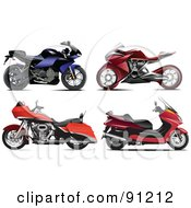 Royalty Free RF Clipart Illustration Of A Digital Collage Of Four Motorcycles by leonid