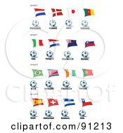 Royalty Free RF Clipart Illustration Of A Digital Collage Of Netherlands Denmark Japan Cameroon Italy Paraguay New Zealand Slovakia Brazil Kora Ivory Coast Portugal Spain Switzerland Honduras And Chile Soccer Balls And Flags by leonid