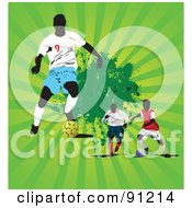 Royalty Free RF Clipart Illustration Of A Green Bursting Background With Three Soccer Players by leonid