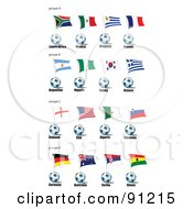 Royalty Free RF Clipart Illustration Of A Digital Collage Of South Africa Mexico Uruguay France Argentina Nigera Korea Greece England Usa Algeria Slovenia Germany Australia Serbia And Ghana Soccer Balls And Flags by leonid