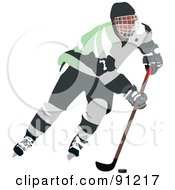 Royalty Free RF Clipart Illustration Of A Male Ice Hockey Player 3 by leonid
