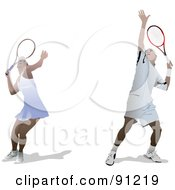 Royalty Free RF Clipart Illustration Of A Digital Collage Of Male And Female Tennis Players by leonid