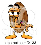 Clipart Picture Of A Football Mascot Cartoon Character Whispering And Gossiping by Toons4Biz