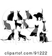 Royalty Free RF Clipart Illustration Of A Digital Collage Of Twelve Black Horse Silhouettes by leonid