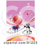 Royalty Free RF Clipart Illustration Of A Romantic Couple Dancing On A Pink Halftone Swoosh And Bird Background by leonid