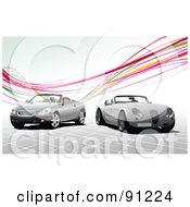Royalty Free RF Clipart Illustration Of A Background Of Two Convertible Cars Under Rainbow Waves