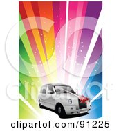 Royalty Free RF Clipart Illustration Of A White Wedding Car Over A Rainbow Burst by leonid