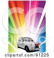 Royalty Free RF Clipart Illustration Of A White Wedding Car Over A Rainbow Burst