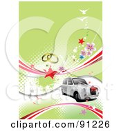 Royalty Free RF Clipart Illustration Of A White Wedding Car Over A Green Halftone Background