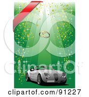 Royalty Free RF Clipart Illustration Of A White Convertible Wedding Car Over A Green Sparkly Background With Wedding Bands And A Red Ribbon