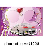 Royalty Free RF Clipart Illustration Of A Beige Wedding Car Over A Purple Heart Background With Vines