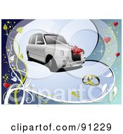 Royalty Free RF Clipart Illustration Of A White Wedding Car Over A Blue Heart And Vine Background