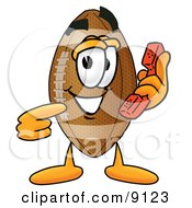 Clipart Picture Of A Football Mascot Cartoon Character Holding A Telephone by Toons4Biz