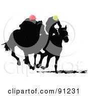 Royalty Free RF Clipart Illustration Of Two Silhouetted Derby Racers