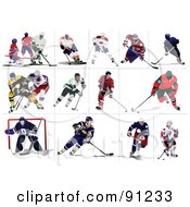 Royalty Free RF Clipart Illustration Of A Digital Collage Of Male Ice Hockey Players by leonid