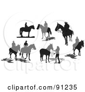 Royalty Free RF Clipart Illustration Of A Digital Collage Of Seven Black Horse Silhouettes by leonid