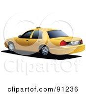 Royalty Free RF Clipart Illustration Of A Yellow Taxi Cab Car With Tinted Windows