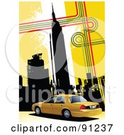 Royalty Free RF Clipart Illustration Of A Yellow Background Of New York Skyscrapers And A Taxi Cab by leonid