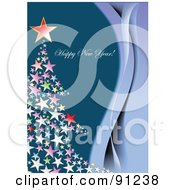 Royalty Free RF Clipart Illustration Of A Happy New Year Greeting With A Star Tree by leonid