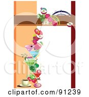 Royalty Free RF Clipart Illustration Of A Blank Menu Template With Fruity Drinks And Coffee