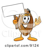 Football Mascot Cartoon Character Holding A Blank Sign