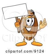 Football Mascot Cartoon Character Holding A Blank Sign