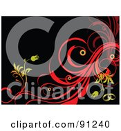 Royalty Free RF Clipart Illustration Of A Yellow And Red Floral Background Over Black by leonid