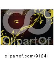 Royalty Free RF Clipart Illustration Of A Wedding Ring And Yellow Vine Background Over Red by leonid