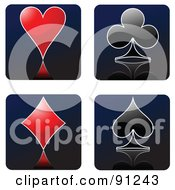 Royalty Free RF Clipart Illustration Of A Digital Collage Of Red And Black Playing Card Heart Club Diamond And Spade Suit Symbols