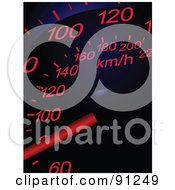 Royalty Free RF Clipart Illustration Of A Red And Blue Automotive Speedometer On Black