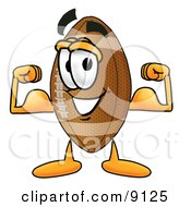 Clipart Picture Of A Football Mascot Cartoon Character Flexing His Arm Muscles by Toons4Biz