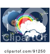 Royalty Free RF Clipart Illustration Of A Funky Blue Cloud And Rainbow Circle Background