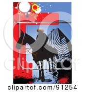 Royalty Free RF Clipart Illustration Of A Silhouetted Man On A Horse Over An Urban Background by leonid