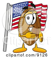 Clipart Picture Of A Football Mascot Cartoon Character Pledging Allegiance To An American Flag by Toons4Biz