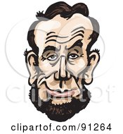 Royalty Free RF Clipart Illustration Of A Caricature Face Of A Man President Abraham Lincoln by Dennis Holmes Designs
