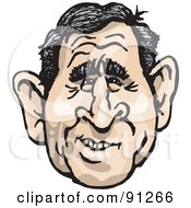 Caricature Face Of A Man President George W Bush